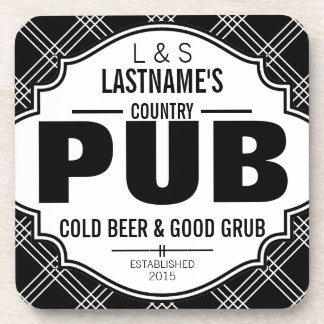 Personalized Country Pub Beer and Grub Coaster