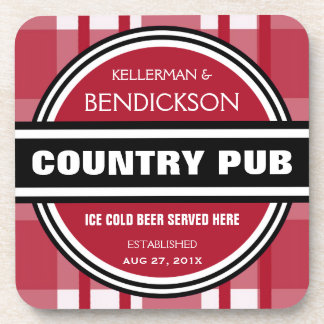 Personalized Country Pub Beer Sign Coaster