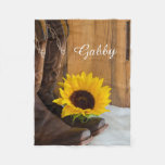 Personalized Country Sunflower Fleece Blanket
