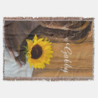 Personalized Country Sunflower Throw