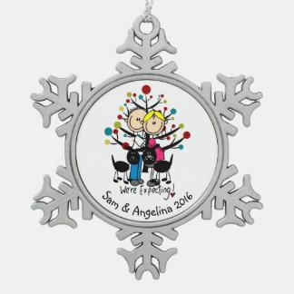 Personalized Couple, Boy, Dog Snowflake Ornament