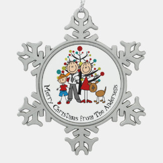 Personalized Couple, Boy, Dog Snowflake Ornament