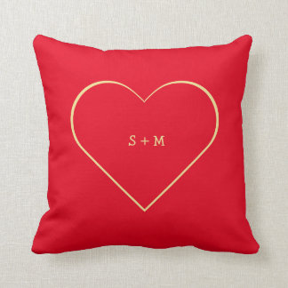 Personalized Couple Chic Hot Red Love Heart Pillow