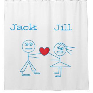 Personalized Couple Stick Figure Shower Curtain
