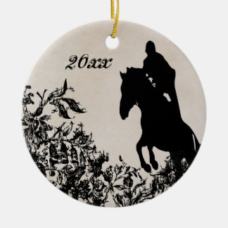 Personalized Couple's Equestrian Horse Jumping Ceramic Ornament