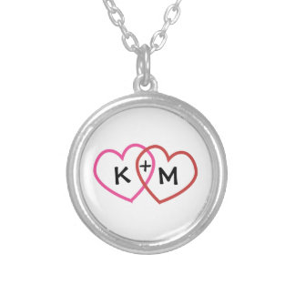 Personalized Couples Initials Two Hearts Necklace