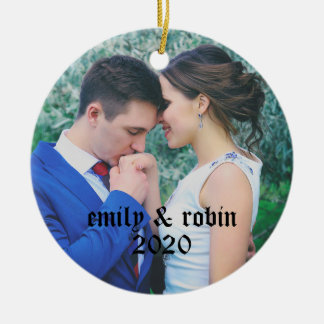 Personalized Couple's Monogram Photo Ornament