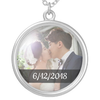 Personalized Couple's Wedding Photo and Date Charm Silver Plated Necklace