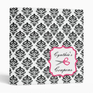 Personalized Coupon Organizer - Black Damask Vinyl Binders