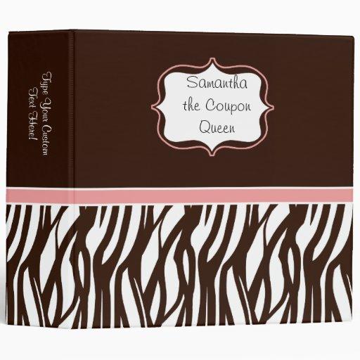 Personalized Coupon Organizer, Brown/Pink Zebra Vinyl Binders