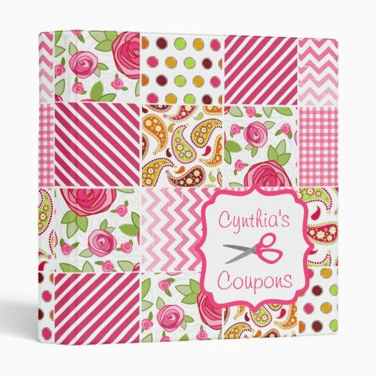 Personalized Coupon Organizer - Girly Patchwork 3 Ring Binder