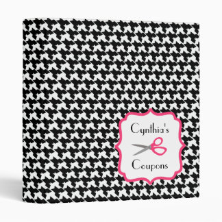 Personalized Coupon Organizer - Houndstooth & Pink Vinyl Binder