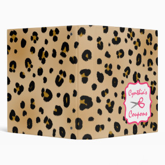 Personalized Coupon Organizer - Leopard 3 Ring Binders
