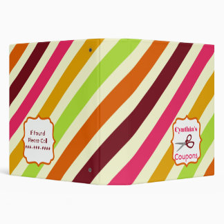 Personalized Coupon Organizer - Multicolor Stripes 3 Ring Binder