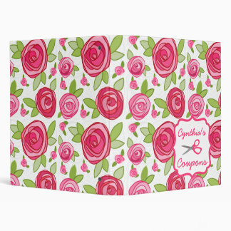 Personalized Coupon Organizer - Pink Roses Vinyl Binders