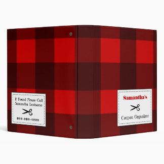 Personalized Coupon Organizer - Red & Black Plaid 3 Ring Binders