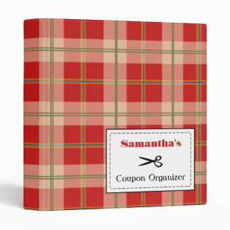 Personalized Coupon Organizer - Red Plaid Binders
