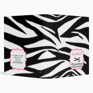 Personalized Coupon Organizer - Zebra Print & Pink Vinyl Binders