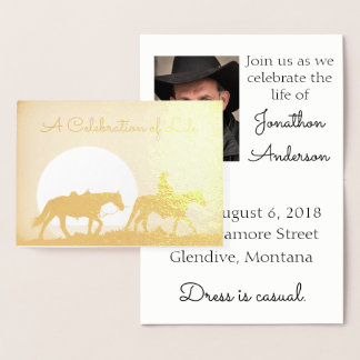 Personalized Cowboy Celebration of Life Foil Card
