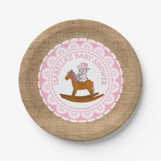 Personalized Cowgirl Baby Shower Cake Paper Plates