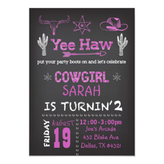Personalized Cowgirl Birthday Party Invitation