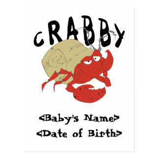 Personalized Crabby New Baby Cards Postcard