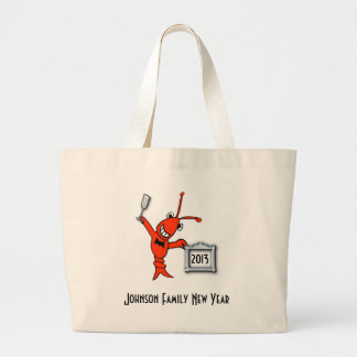 Personalized Crawfish / Lobster New Year Toast Large Tote Bag
