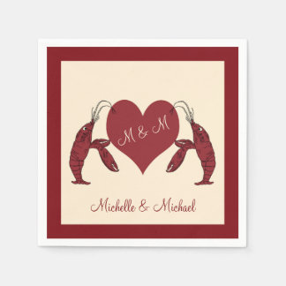 Personalized Crawfish Lobsters With Heart Paper Napkins