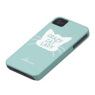 Personalized Crazy Cat Lady in Wavecrest blue iPhone 4 Case-Mate Cases