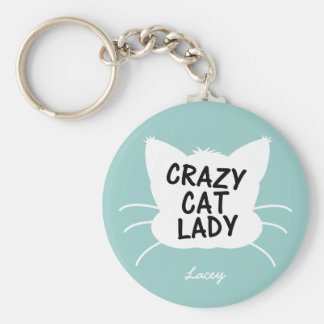 Personalized Crazy Cat Lady - wavecrest blue Keychain