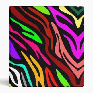 Personalized Crazy Cool Colorful Zebra Pattern Binders
