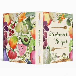 Personalized Culinary Fruits and Veggies Recipe Vinyl Binders