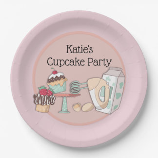 Personalized Cupcake Baking Party Paper Plate