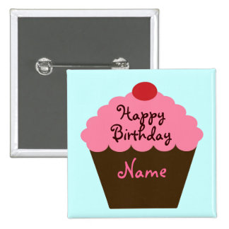Personalized Cupcake Birthday Button