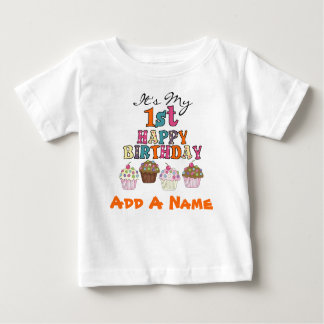 Personalized Cupcakes 1st Birthday T-shirt