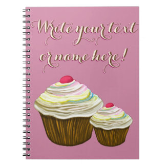 PERSONALIZED CUPCAKES- PINK CUPCAKE NOTEBOOK