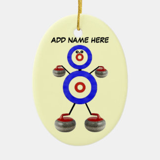 Personalized Curling Star Ceramic Ornament