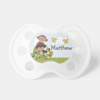 Personalized Curly Tails Monkeys Pacifier