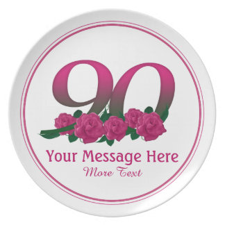 Personalized custom 90th number 90 flowers plate