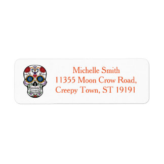 Personalized Custom Floral Sugar Skull Halloween Return Address Label