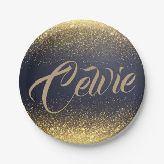 Personalized Custom Gold Glitter | Paper Plates