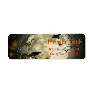 Personalized Custom Halloween Crow with Moon Return Address Label