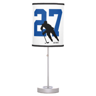 Personalized Custom Hockey Player Number Blue Table Lamp