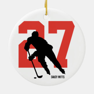 Personalized Custom Hockey Player Number Ceramic Ornament
