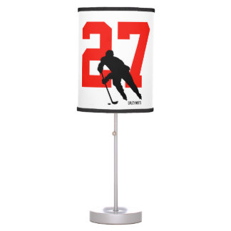Personalized Custom Hockey Player Number Red Table Lamp