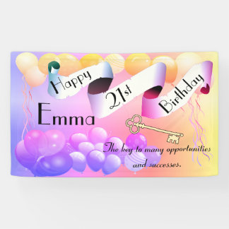 Personalized Custom Idea Happy 21st Birthday Banner