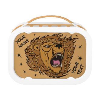 Personalized Custom Lion Logo Graphic Art Lunch Box