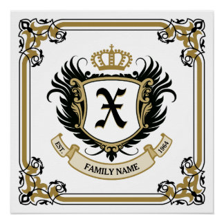 Personalized Custom Monogram Family Crest Perfect Poster