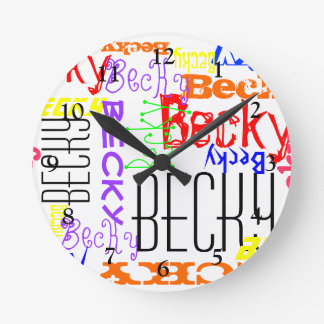 Personalized Custom Name Collage Colorful Clock