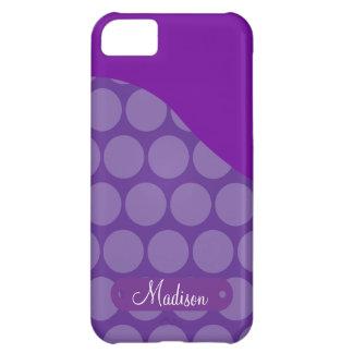 Personalized Custom Name Purple Polka Dots Wave iPhone 5C Covers